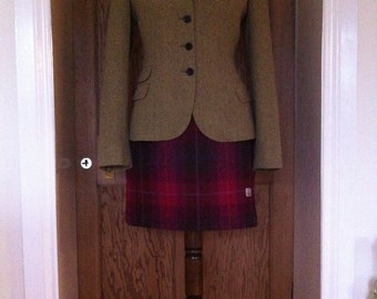 Harris tweed Aline skirt made in Scotland tartan plaid womens gift girl girlfriend Scottish kilt