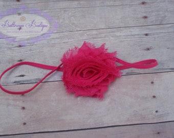 Hot pink baby headband, infant headband, newborn headband, bright pink headband, hot pink flower headband, vintage headband, baby hair band