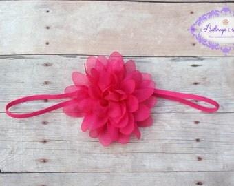 Pink baby headband, bright pink headband, infant headband, hot pink headband, newborn headband, photo prop, pink baby hairband, baby bow