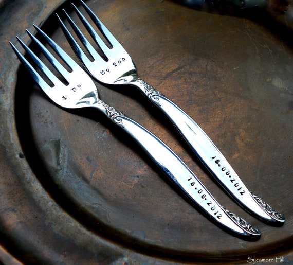 Custom DESSERT FORKS - Bridal Pair for Your Wedding Cake Cutting -  Handmade by Sycamore Hill