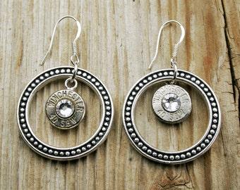 Bullet Earrings / Dotted Circle 40 S&W Bullet Earrings with Sterling Silver Ear Wires WIN-40-N-DCE / Round Earrings / Silver Earrings