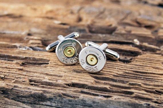 Bullet Cufflinks Long Colt 45 Starline Bullet Cuff Links Nickel Silver Tone SL-45C-NB-CL
