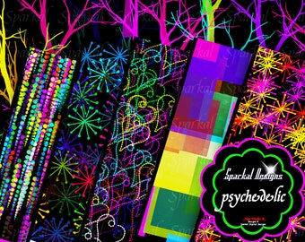 Psychedelic Digital Paper, PRINTABLE Download,  Neon and Vibrant, Instant Download