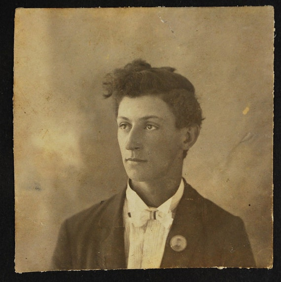 Hair and Lapel Button, 1910's, Vintage Photo, Snapshot, Photography