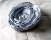 Hair Clip Brooch Barrette - Shabby Chic Fabric Flower in Shimmering Silver - Sweet Jemma