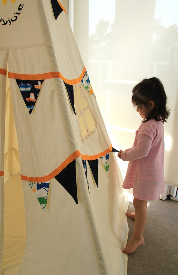 Teepee Bunting Style - navy blue and bright cars fabrics OOAK