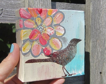 For the Birds... original painting 4x4 petite canvas by Cat Seyler designs