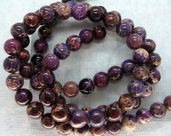 Gorgeous Purple Violet Variscite Sea Sediment Jasper Smooth Round Beads 10mm