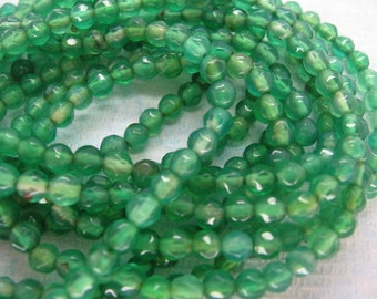 Beautiful Green Agate Faceted Round Gemstone Beads 4mm