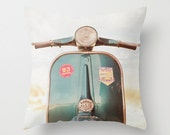 Blue, Vespa, Pillow case, Vintage Style, room decoration,16x16 Pillow , Home Decor, polyester, decoration, pillow cover, white, throw pillow