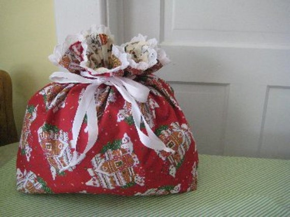 SALE Santa Sack Christmas Stocking Overflow Bag Fabric Gift Bag Fully Lined -- Gingerbread House