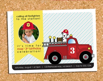 Firetruck Fireman Birthday Party Photo Invitation, Dalmatian Firefighter Party Invite, Retro - DiY Printable || The Vintage Firetruck