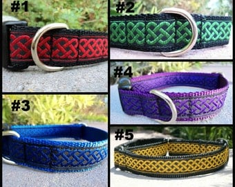 "Celtic Knot dog collar 1"" wide Quick Release buckle or Martingale collar adjustable - see inside description for detailed info"