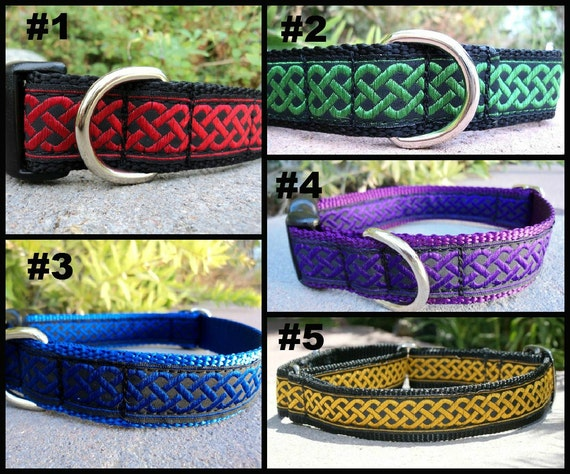 """Dog Collar Celtic Knot 1"""" wide Quick Release buckle or Martingale collar style - S - XXL - see details for info"""