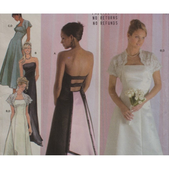 Strapless Backless Evening Gown Pattern, Shrug Jacket, Prom Dress,  Jessica McClintock - Simplicity No. 4876 UNCUT Size 14 16 18 20 22