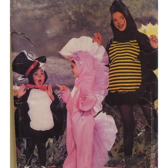 Childrens Unicorn, Spider, Bee Costume Pattern, Whimsical, Vintage Butterick No. 6848 Size S M (4-7)