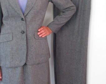 The 1970's Heather Gray Wool Three Piece Woman's Suit