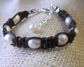 Brown Leather Pearl Bracelet Freshwater Adjustable Bracelet Womens Casual Jewelry Boho Knotted