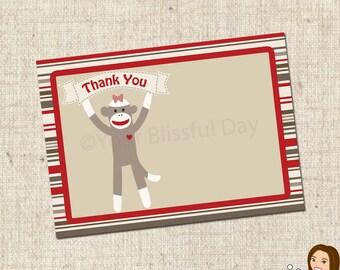 PRINTABLE Girl Sock Monkey Thank You Cards #585