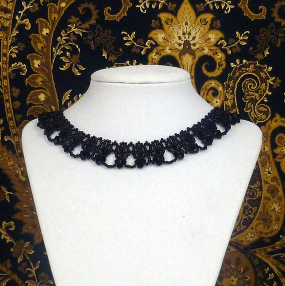 Victorian black crystal beaded necklace