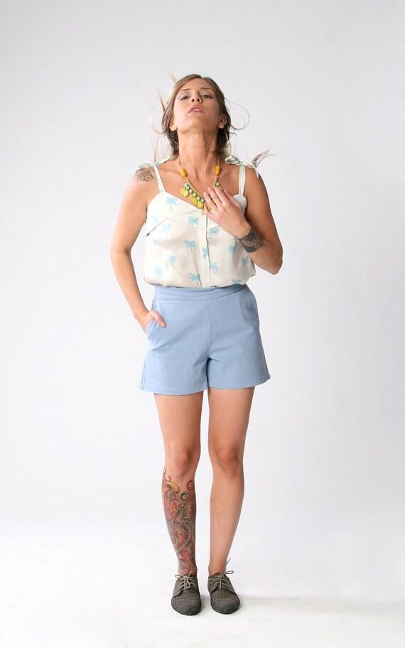 Sale, White with Palm trees print blouse, Button down shirt, Women tank top, Summaer fashion