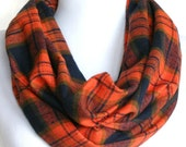 Infinity Scarf in Orange and Navy Blue Plaid Lightweight Flannel, Loop Scarf, Eternity Scarf, Circle Scarf