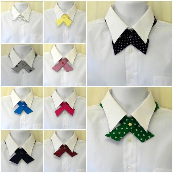 Lot of Continental Cross Ties with Pearl Snap Buttons Vintage Unisex Necktie Fashion
