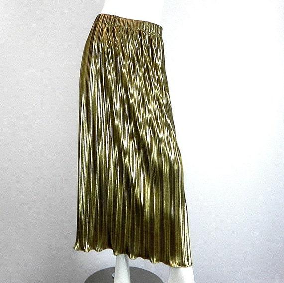 gold lame pleated skirt jacket vintage 1980s size medium