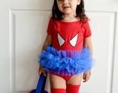 Spider Girl Tutu Bodysuit Superhero Costume Toddler Baby Girl Halloween- Sizes 0-24 Months