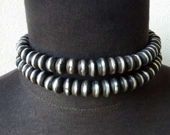 Stunning Antique African Mud & Coin Silver Bead Strand Necklace