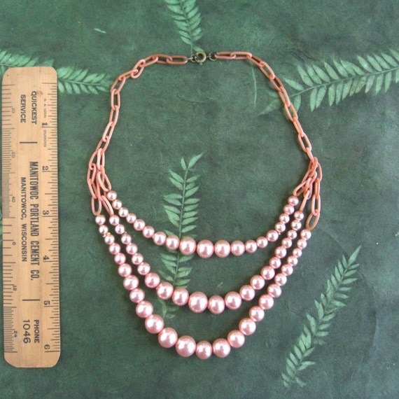 Vintage Pink Celluloid & Pearl Multi Strand Choker Necklace