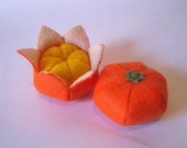 Felt food Tangerine set eco friendly childrens pretend play food for toy kitchen