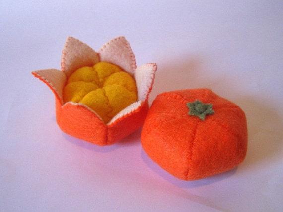Felt food Tangerine set eco friendly childrens pretend play food for toy kitchen