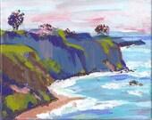 Original Painting Impressionist California Seascape Ocean Sky Tree