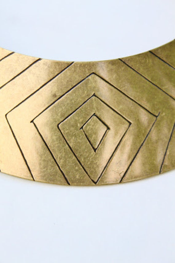 Bronze Metal Carved Crescent Bib Choker Collar Necklace/vintage/Bohemian/Retro/Tribal/Rustic/Geometric/OOAK