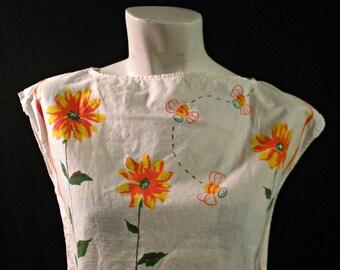 Sunny flower and Honeybee Boatneck top