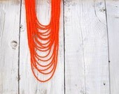 Seed Bead Bib/ Tangerine Tango Tangle, Czech Glass Multi Layered Necklace - DarkRide