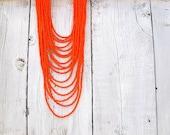 Seed Bead Bib/ Tangerine Tango Tangle, Czech Glass Multi Layered Strand Necklace