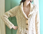 Sale Vintage FISHERMAN CARDIGAN SWEATER Cable Knit Cream Wool