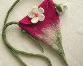 Felted Fairy Purse in Light Burgundy, White and Green