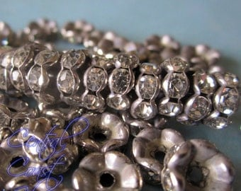 8mm Aged Silver Czech Crystal Rhinestone Rondelle Spacers 50 pcs - Wavy Edge - Vintage Style - Central Coast Charms
