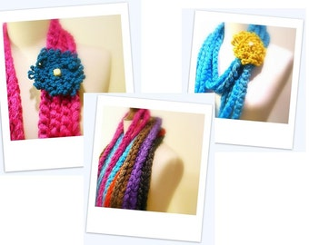 Crochet Infinity Scarf, Magenta Hot Pink Chunky Crochet Chain Cowl, Extra long Circle Scarf