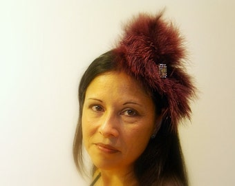 Feather Headband, Avant Garde Maroon Luxurious Fluffy Feather Headpiece, Rhinestone Accents, Party Holiday Accessory