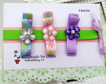 Hair Clippies Tuxedo Bow Hair Clippies with Flower button in Purple Pink and Blue