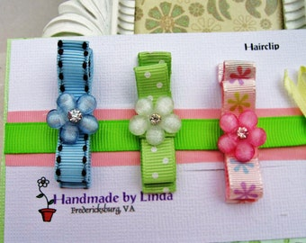 Tuxedo Bow Hair Clippies with Flower button in Blue Pink and Mint green