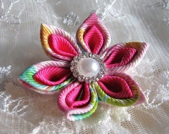 Retractable Id  Badge Holder with Alligator or Slide Metal Clip Pink Printed Design Ribbon Flower ID Badge Reel Kanzashi Badge Reel