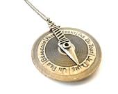 Love spinner meter necklace pendant ( toy, childhood, arrow, detector, heart, rustic, chocolate brown, jam ) 09