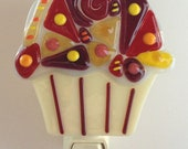 Fused Glass Cupcake with Crazy Quit Pattern Nightlight
