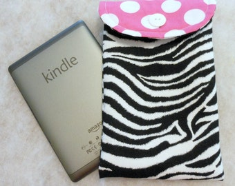 E Reader Case Zebra with Hot Pink Dot Flap