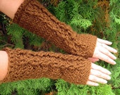 extra soft chocolate brown fingerless gloves with cable decoration